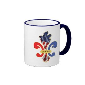 USA Fleur de lis custom design Ringer Coffee Mug