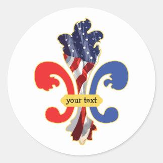 USA Fleur de lis custom design Classic Round Sticker