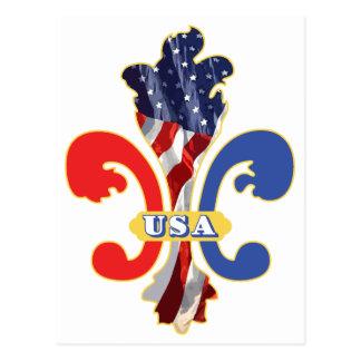 USA Fleur de lis Postcard