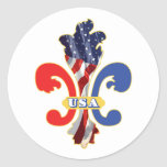 USA Fleur de lis Round Sticker