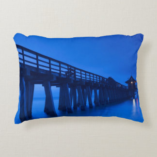USA, Florida, Gulf Coast, Naples, Naples Pier Accent Pillow