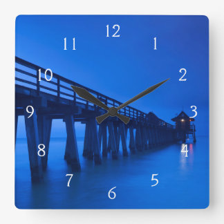USA, Florida, Gulf Coast, Naples, Naples Pier Square Wall Clock