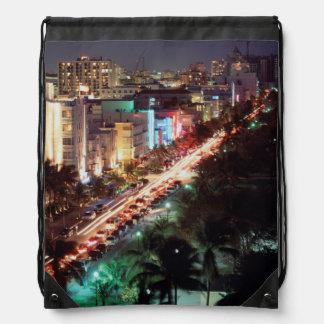 USA, Florida, Miami Beach, Ocean Drive, Art Deco 2 Drawstring Bag