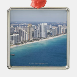 USA, Florida, Miami, Cityscape with beach 2 Metal Ornament