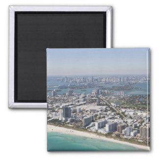 USA, Florida, Miami, Cityscape with beach 3 2 Inch Square Magnet