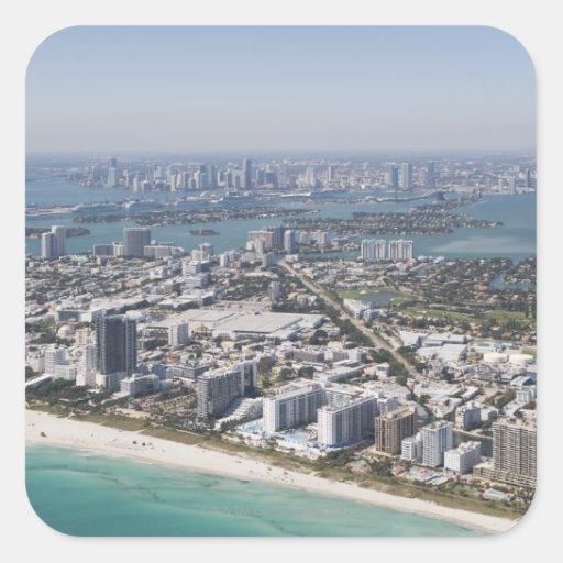 USA, Florida, Miami, Cityscape with beach 3 Square Sticker