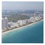 USA, Florida, Miami, Cityscape with beach Large Square Tile