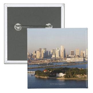 USA, Florida, Miami, Cityscape with coastline Pinback Button