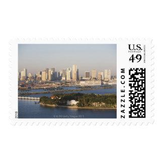 USA, Florida, Miami, Cityscape with coastline Postage Stamp
