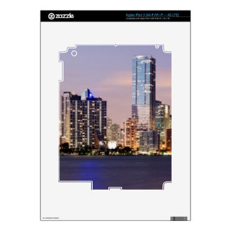 USA, Florida, Miami skyline at dusk 2 iPad 3 Decal