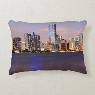 USA, Florida, Miami skyline at dusk 2 Accent Pillow