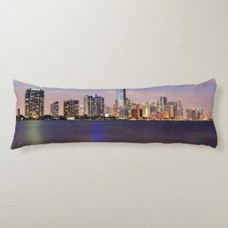 USA, Florida, Miami skyline at dusk 2 Body Pillow