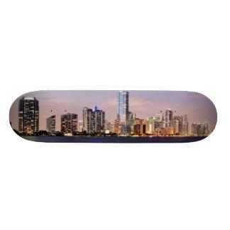 USA Florida Miami skyline at dusk 2 Skate Decks