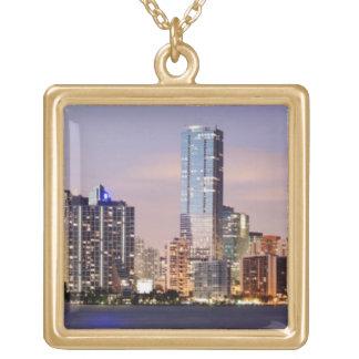 USA, Florida, Miami skyline at dusk 2 Square Pendant Necklace