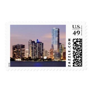 USA, Florida, Miami skyline at dusk 2 Stamp