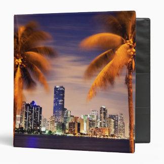 USA, Florida, Miami skyline at dusk 3 Ring Binder