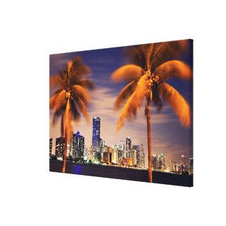 USA, Florida, Miami skyline at dusk Stretched Canvas Prints