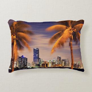 USA, Florida, Miami skyline at dusk Accent Pillow