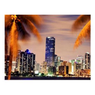USA, Florida, Miami skyline at dusk Postcard