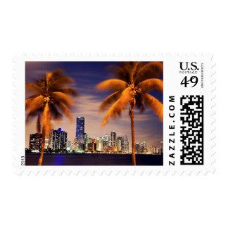 USA, Florida, Miami skyline at dusk Stamp