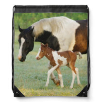 USA, Florida, Newborn Paint filly Drawstring Backpack