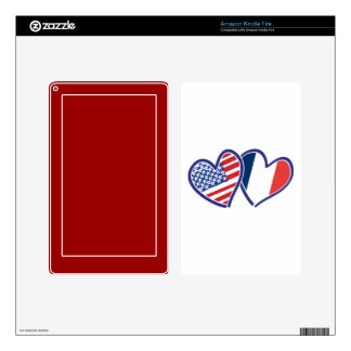 USA France Love Hearts Kindle Fire Decals