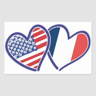 USA France Love Hearts Rectangle Stickers