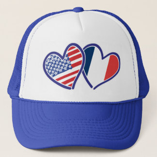 USA France Love Heats Trucker Hat