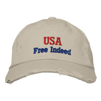 USA  FREE INDEED MEN'S WHITE CAP EMBROIDERED HAT