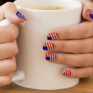 USA Freedom Flag and Silver Stars on Blue Minx® Nail Wraps