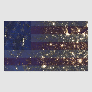 USA From Space At Night and US Flag.jpg Rectangular Sticker