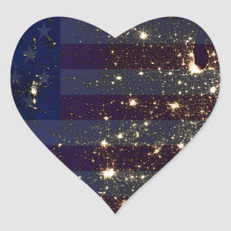 USA From Space At Night and US Flag.jpg Heart Sticker