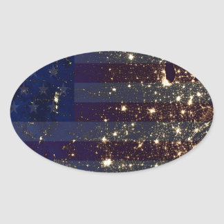 USA From Space At Night and US Flag.jpg Oval Stickers