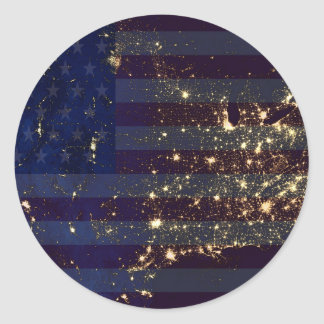 USA From Space At Night and US Flag.jpg Round Stickers