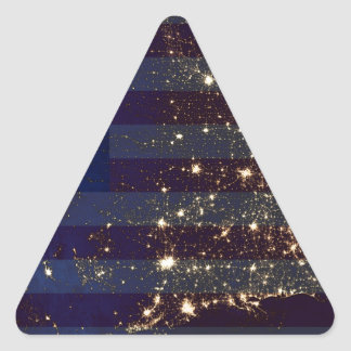 USA From Space At Night and US Flag.jpg Triangle Sticker