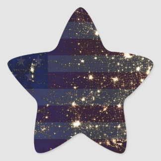 USA From Space At Night and US Flag.jpg Star Sticker