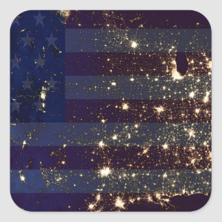 USA From Space At Night and US Flag.jpg Square Sticker