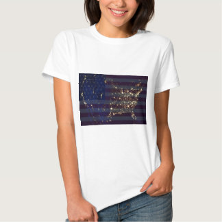 USA From Space At Night and US Flag.jpg T-shirt