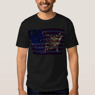 USA From Space At Night and US Flag.jpg T Shirts