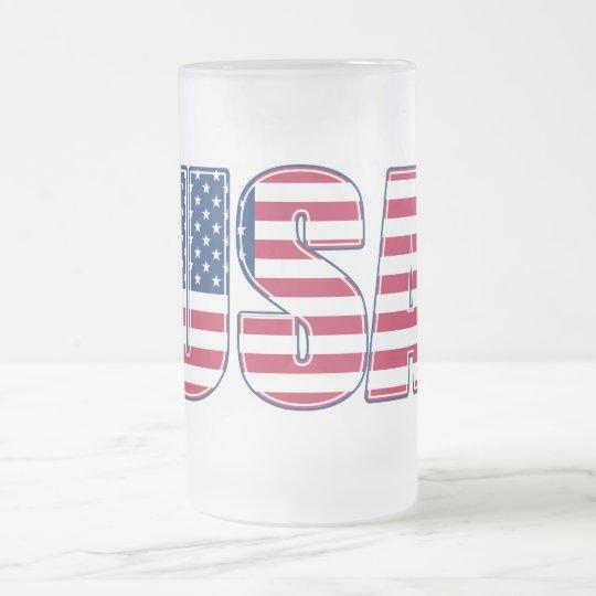 USA Frosted Glass Mug