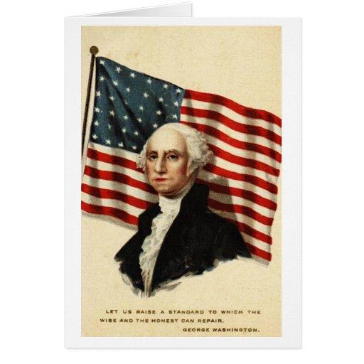 Usa george washington flag greeting card zazzle