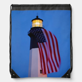 USA, Georgia, Tybee Island, Flag Flying 2 Drawstring Bag