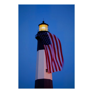 USA, Georgia, Tybee Island, Flag Flying 2 Poster