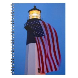 USA, Georgia, Tybee Island, Flag Flying 2 Spiral Notebook