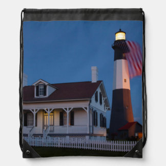 USA, Georgia, Tybee Island, Flag Flying Drawstring Backpack