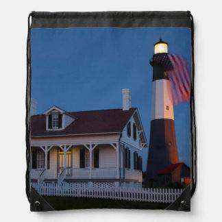USA Georgia Tybee Island Flag Flying Drawstring Bag