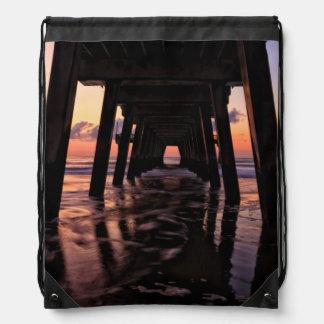 USA, Georgia, Tybee Island, Pier At Tybee Island Drawstring Bag
