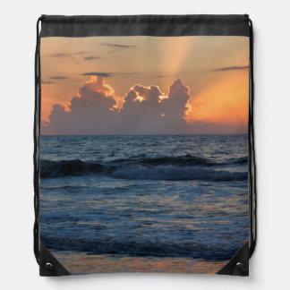 USA, Georgia, Tybee Island, Tybee Island Beach Drawstring Backpack