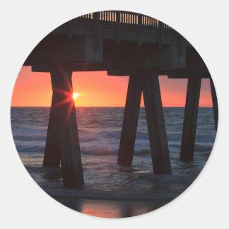 USA, Georgia, Tybee Island, Tybee Pier Classic Round Sticker