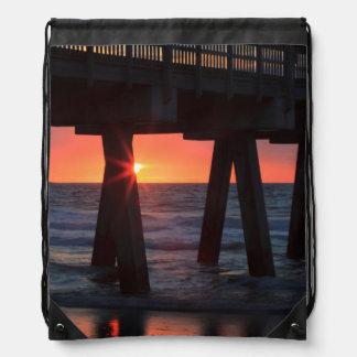USA, Georgia, Tybee Island, Tybee Pier Drawstring Backpack